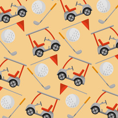 golf club car stick ball flag pattern vector illustration