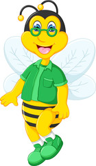 funny bee cartoon standing use glasses with smile