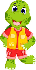cute little turtle cartoon posing with smile