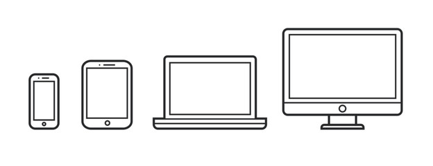 Device Infographic Icons: Smartphone, Tablet, Laptop, Desktop Computer