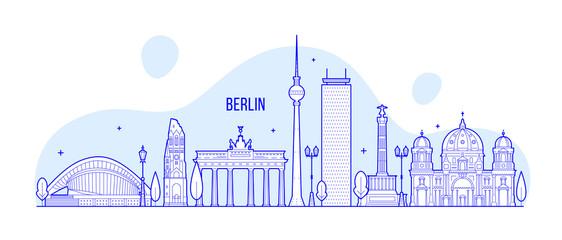 Wall Mural - Berlin skyline Germany city buildings vector