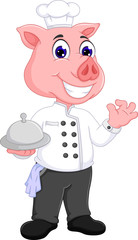 cute pig chef cartoon bring delicious food with smile and waving