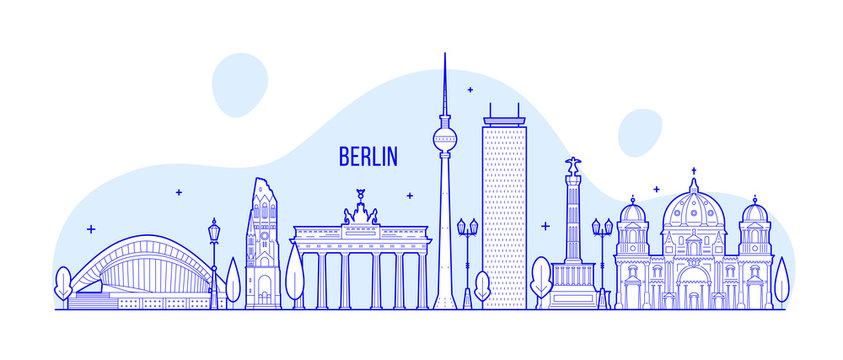 Berlin skyline Germany city buildings vector