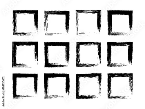 Collection Empty Black Grunge Rectangle Frame Isolated On White Background Vignette Set