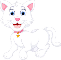 funny cat cartoon posing with laughing