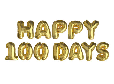 The isolated golden air balloon word HAPPY 100 DAYS