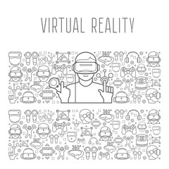 Virtual reality headset man concept in on vr background. Vector