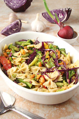 Casserole with Farfalle pasta, sliced grilled chicken, sweet peppers, cabbage, broccoli, cheese