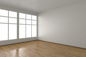 Corner of white empty room with windows