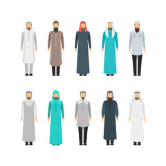 Cartoon Color Middle East Man Religious Apparel Set. Vector