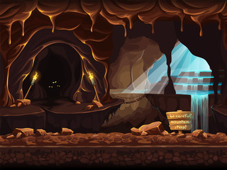 Illustration fantasy cave with a sign and stones
