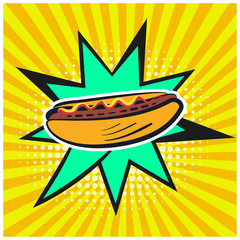 Bright retro comic speech bubble with hotdog symbol. Outline colorful hot dog on cute star shape bubble with yellow stripes and halftone background for advertisement design, banner, label, menu