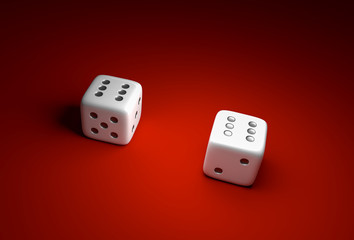 Two dice with number six on red casino background