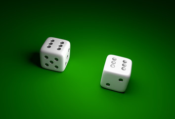 Two dice with number six on green casino background