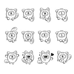 Set vector contour illustrations isolated character cartoon funny cat stickers emoticons with different emotions. Black and white happy, sad, loving, angry, surprised and frightened kitten.