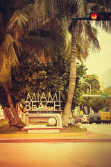 Miami Beach welcome street sign, Florida, United States. Vintage colors
