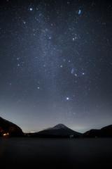 本栖湖から富士山と冬の星空