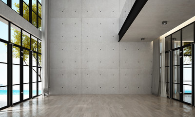 The interior design of empty lounge and living room and concrete wall background and sea view