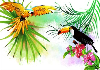 Colorful illustration with tropical birds in colors on an abstract background