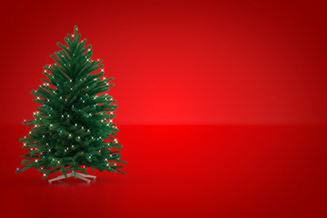Christmas tree on red background. 3D Render