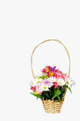 Beautiful basket with flowers isolated on white background