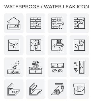 waterproof water leak icon