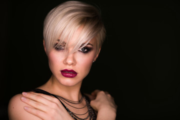 beautiful young naked woman. beauty blonde girl with short haircut. fashion hairstyle