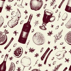 Winter seamless pattern with mulled wine, spices, orange, apple, pomegranate, cinnamon, carnation, anise, clove, ginger. Hand drawn vector retro Illustration. Background in sketch style. Winter drink.