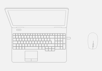 CAD Drawing of Laptop Computer &  Mouse from above with perspective white background.