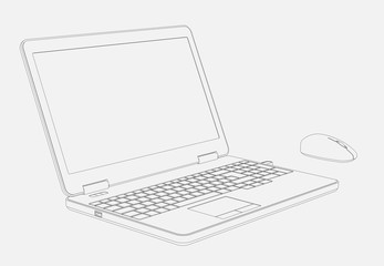 Illustration of Laptop Computer and Mouse in 3D