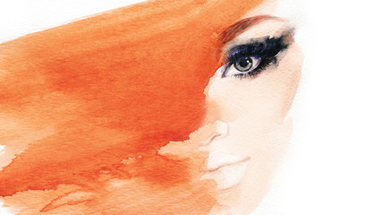 Poster Portrait Aquarelle Makeup. Woman face. Fashion illustration.