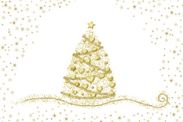 Abstract gold Christmas tree hearts on white
