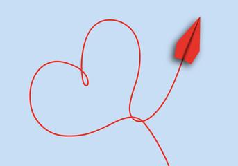 origami - concept - idée - amour - amoureux - cœur - symbole - avion de papier - je t'aime
