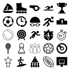 Set of 25 competition filled and outline icons