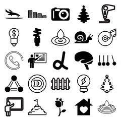 Set of 25 creative filled and outline icons
