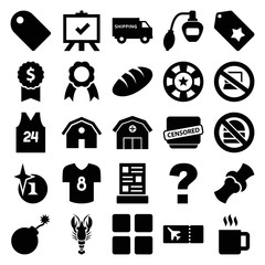 Set of 25 label filled icons