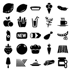Set of 25 fresh filled icons