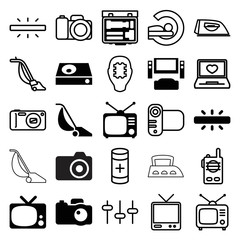 Set of 25 electronics filled and outline icons