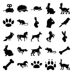 Set of 25 pet filled icons
