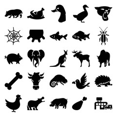 Set of 25 animal filled icons