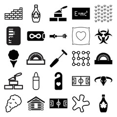 Set of 25 texture filled and outline icons