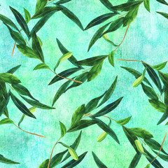 Seamless pattern with watercolor olive branch on teal green
