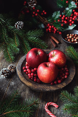 Red apples, cranberries and fir tree branches. Christmas still life. Winter wallpaper. Vertical composition