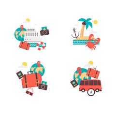 Time to travel, vacation, adventure, things to journey. Flat design vector illustration.