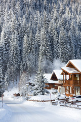 Fototapete - Wooden holiday houses in Austrian Alps
