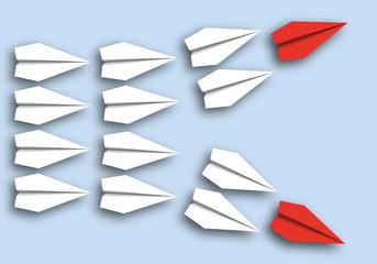 origami - concept - idée - désaccord - séparation - symbole - avion de papier - incompatible