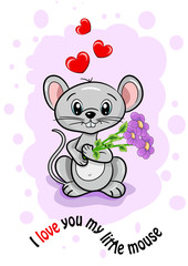 birthday card of valentine's day mother of beloved woman girl mouse little cute joy smile flowers pink hearts background