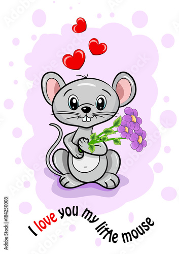 Birthday Card Of Valentines Day Mother Beloved Woman Girl Mouse Little Cute Joy Smile Flowers