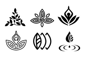 Set of beautiful yoga and spa symbols and logotypes vector
