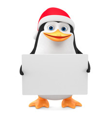 Penguin in a red hat with a blank board on a white background. 3d rendering. Christmas illustration.